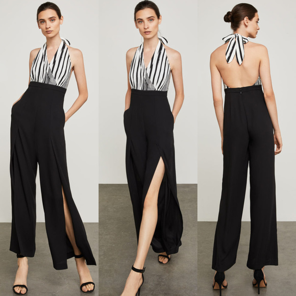 1518d9f73462 BCBGMaxAzria Sleeveless Striped Halter Jumpsuit
